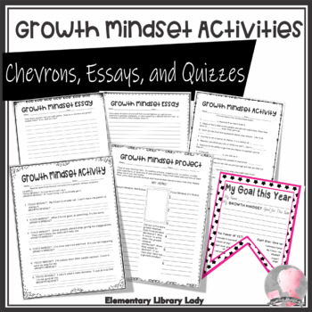 EMOJI Growth Mindset Activities - Chevron, Essays, Quizzes