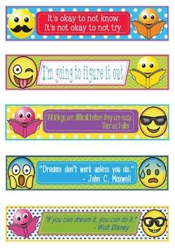 Emoji Growth Mindset Bookmarks Shelf Markers Or Desk Name