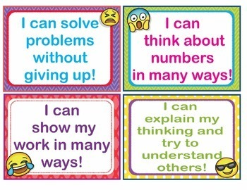 """EMOJI """"I Can"""" Mathematical Practice Statements - Large, Medium and Small"""