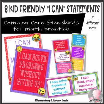 "EMOJI ""I Can"" Mathematical Practice Statements - Large, Medium and Small"