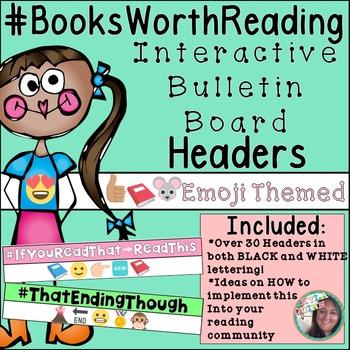 Emoji Interactive Reading Bulletin Board Hashtag Headers For Book Categories