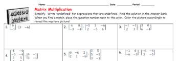 EMOJI - Matrix Multiplication (Google Interactive & Hard Copy)