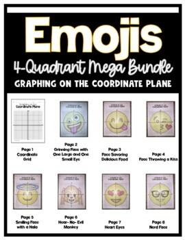 EMOJI Mega Bundle- Graphing on the Coordinate Plane- 4 Quadrants