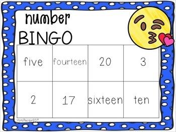 EMOJI Number Bingo