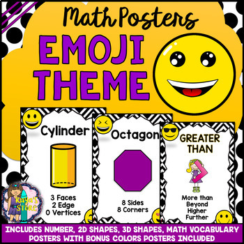 Math (Numbers, Vocabulary, Shapes, Colors) Posters EMOJI THEME BACK TO SCHOOL