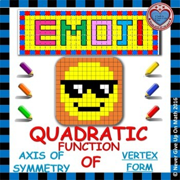 EMOJI - Quadratic Functions - Find the Axis of Symmetry (Vertex Form)