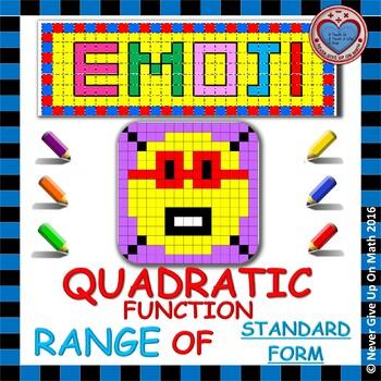 EMOJI - Quadratic Functions - Range of Quadratic Functions (Standard Form)