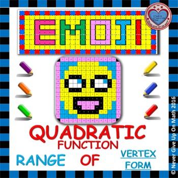 EMOJI - Quadratic Functions - Range of Quadratic Functions (Vertex Form)