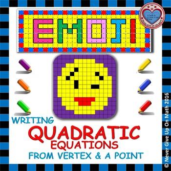 EMOJI - Quadratic Functions - Writing Quadratic Equation f