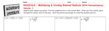 EMOJI - Radicals: Multiplying & Divide Binomial Radicals (With Rationalizing)