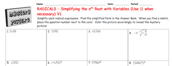 EMOJI - Radicals: Simplifying Square root & nth root with variables (2 Versions)