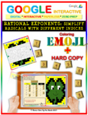 EMOJI -Rational Exponent & Simplifying Radicals (Google Interactive & Hard Copy)