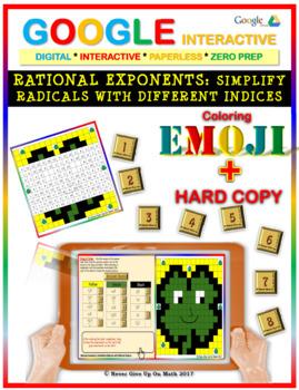 EMOJI -Rational Exponent & Simplifying Radicals (Google Interactive & Hard Copy)