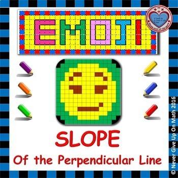 EMOJI - SLOPE - Find slope of PERPENDICULAR lines graph, points, table, equation