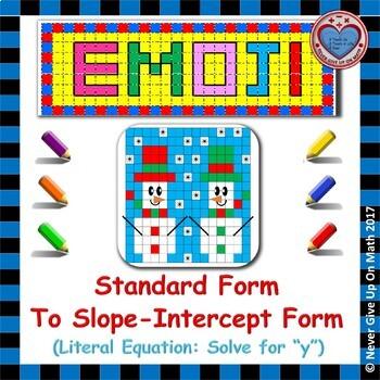 """EMOJI - SLOPE - Solve for """"y"""" (Change Standard Form to Slope-Intercept Form)"""