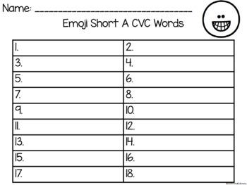 EMOJI Short Vowel A CVC Words