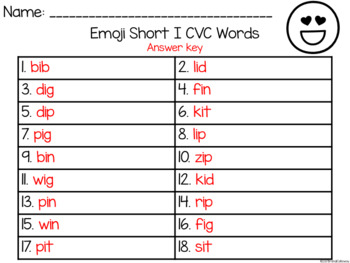 EMOJI Short Vowel I CVC Words