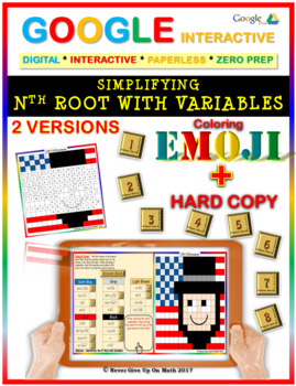 EMOJI - Simplifying Square root & nth root (Google Interactive & Hard Copy)
