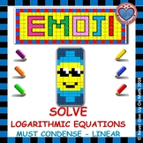 EMOJI - Solve Logarithmic Equations: Must Condense (ONLY Linear Models)