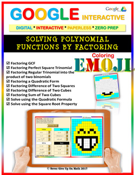 EMOJI - Solve Polynomial Equations by Factoring (Google Interactive & Hard Copy)