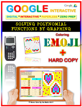 EMOJI - Solve Polynomial Equations by Graphing (Google Interactive & Hard Copy)