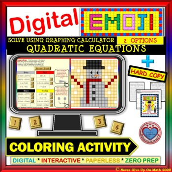 EMOJI - Solve Quadratic Equations by Graphing Calculator (Google & Hard Copy)