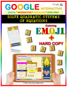 EMOJI - Solve Quadratic Systems of Equations (Google & Hard Copy)
