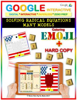 EMOJI - Solve Radical Equations: Many Models (Google Interactive & Hard Copy)
