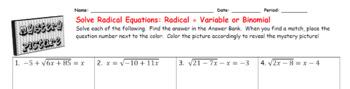EMOJI - Solve Radical Equations : Radical = Variable & Radical = Binomial