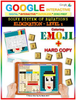 EMOJI-Solve System of Equations:Elimination L1 (Google Interactive & Hard Copy)