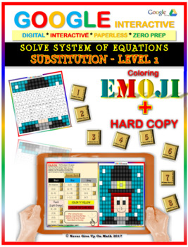 EMOJI-Solve System of Equations:Substitution L1 (Google Interactive & Hard Copy)