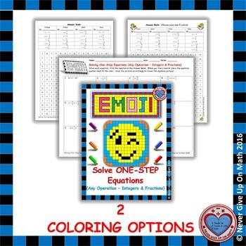 EMOJI - Solving 1-step EQU: Adding/Subtracting/Multiplying or Dividing-Fractions