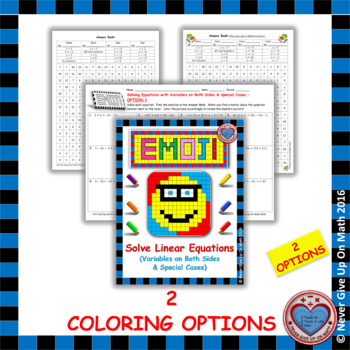 EMOJI - Solving Equations with Variables Both Sides & Special Cases (2 options)