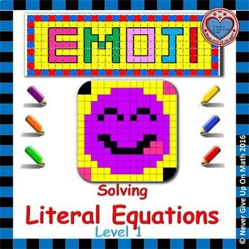 EMOJI - Solving Literal Equations Level 1