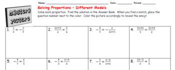 EMOJI - Solving Proportions: 5 Different Models