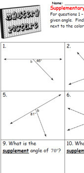 EMOJI - Supplementary Angles (Level 1)  (Sum is 180⁰)