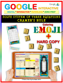 EMOJI - System of Equations - 3 Variables Cramer's Rule (Google & Hard Copy)