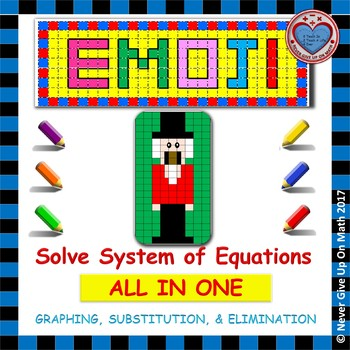 EMOJI - System of Equations - Graphing, Substitution, & Elimination