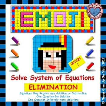 EMOJI - System of Equations - Solve by Elimination Level 1