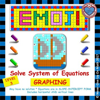 EMOJI - System of Equations - Solve by Graphing Level 2