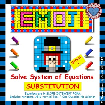 EMOJI - System of Equations - Solve by Substitution Level 1