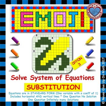 EMOJI - System of Equations - Solve by Substitution Option 3