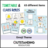 EMOJI THEME - Classroom Daily or Weekly Timetable & Class Roles