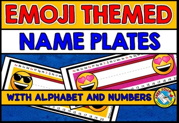 EMOJI NAME TAGS ❤ EMOJI THEME CLASSROOM DECOR: EMOJI THEME NAME PLATES
