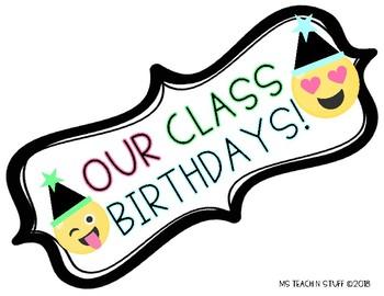 EMOJI THEMED Class Birthdays 2