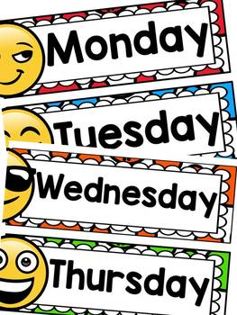 EMOJI THEMED: (EDITABLE) DAYS OF THE WEEK: CLASS DECOR