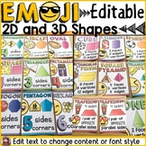 EMOJI THEMED: (EDITABLE) 2D AND 3D SHAPES: CLASS DECOR
