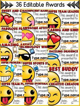 EMOJI THEMED: (EDITABLE) AWARDS: BACK TO SCHOOL: END OF YEAR