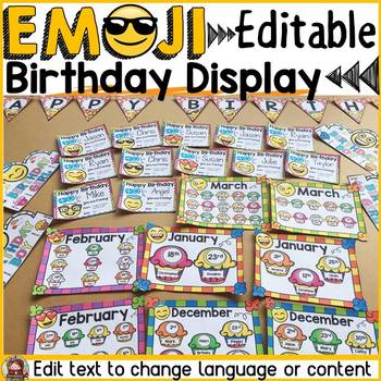 EMOJI THEMED: (EDITABLE) BIRTHDAY DISPLAY: CLASS DECOR