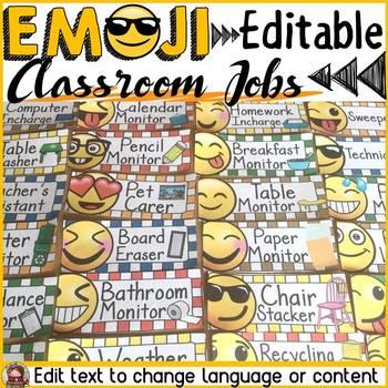 EMOJI THEMED: (EDITABLE) CLASSROOM JOBS: CLASS DECOR